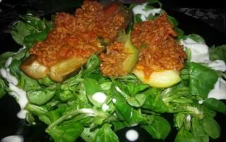 Gefüllte Auberginen und Zucchini