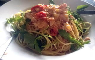 Spaghetti-in-Lachs-Weißweinsauce