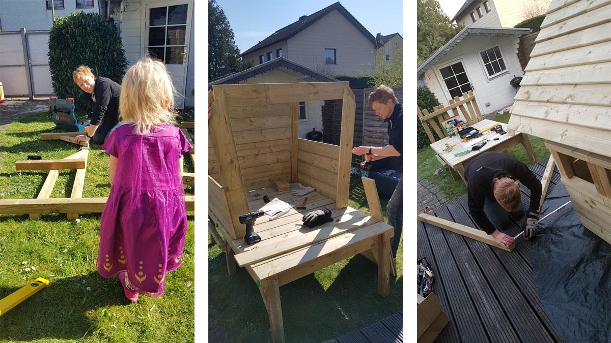 Aufbau Fatmoose Spielhaus